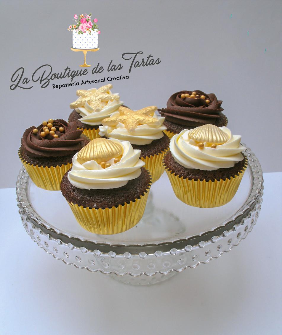 cupcakes decorados con conchas