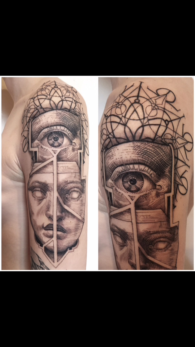 Pattern Work And Portrait Tattoo