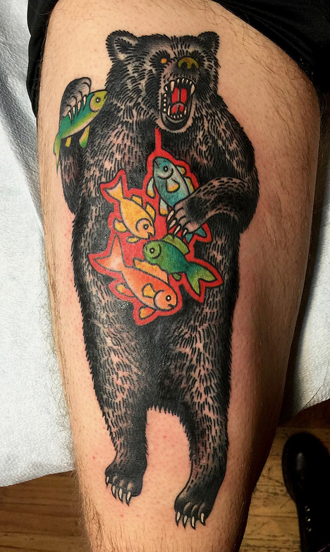 cc8eca02be1d0 Virginia Elwood color traditional japanses sleeve. Brooklyn NY tattooer.