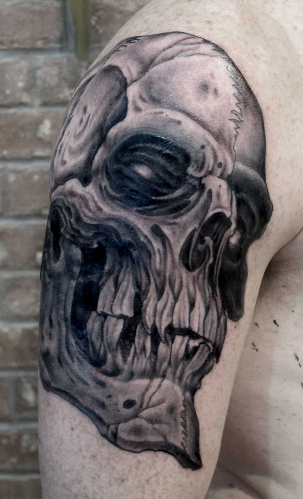 Black Grey Skull Tattoo