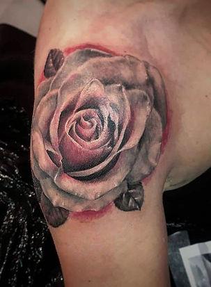 colour glow rose tattoo