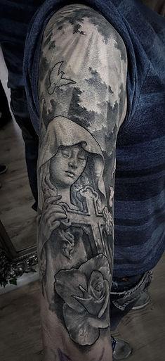 realistic memorial tattoo sleeve