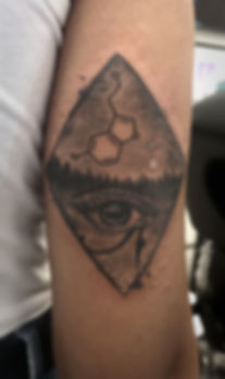 eye and chemica symbol tattoo