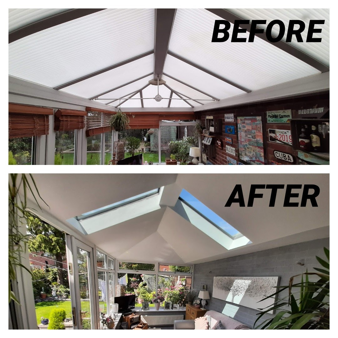 Replacement Tiled & Insulated Conservatory Roof - Before & After Internal