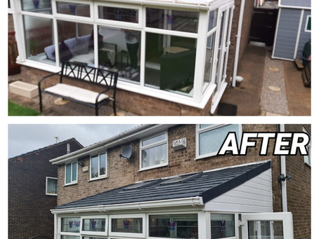Case Study - Charcoal Metrotile Conservatory Roof Conversion, With Velux Windows - Littleborough