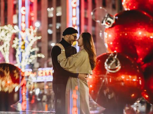 Big City Christmas Lights || Engagement Photoshoot NYC