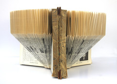 Balance, book sculpture, folded old encyclopedia from 1933, 19x30x15 cm