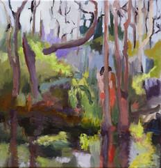 Hiding, oil on canvas, 30x30cm