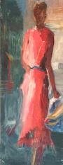Walking, oil painting, 62x24cm