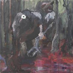 The Three-headed Troll, oil on canvas, 40x40cm