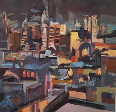 The town, oil on canvas, 80x80cm