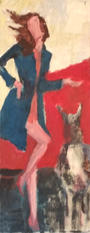 Me and my dog, oil painting, 62x24cm