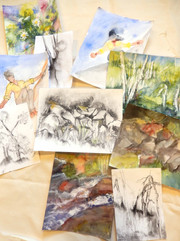 28b, sketches from nature, watercolor, charcoal on paper .jpg
