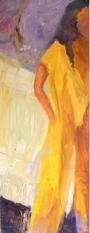 Yellow dress, oil painting, 62x24cm