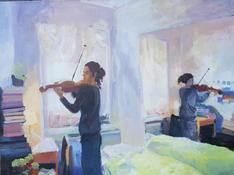 Violinist, oil on canvas, 80x100cm
