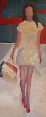 On the catwalk, oil painting, 62x24cm,