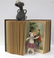 Learning, installation, old lawbook,  filted animals, 24x28x19 cm