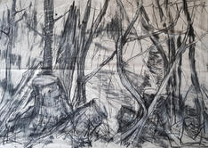 The Cathedral. charcoal on canvas, 100x140cm