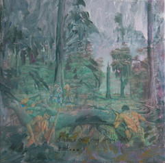 History  and War in the Forest, mixed media, 30x30cm