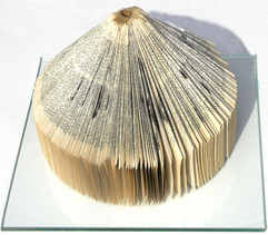 Circle, book sculpture, folded old encyclopedia from 1933, 19x26x26 cm