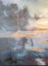 Pushing the clouds, oil on canvas, 140x100cm