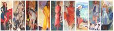 Nine sisters, oil paintings,  62x24cmx9