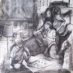 Reading time, charcoal drawing, 50x50cm