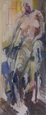 Model in the studio, oil on canvas, 62x24cm
