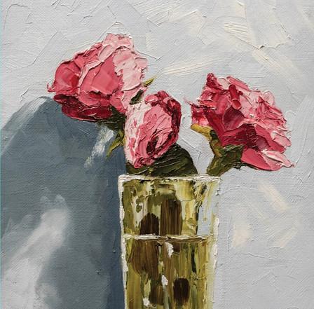 Three pink blooms