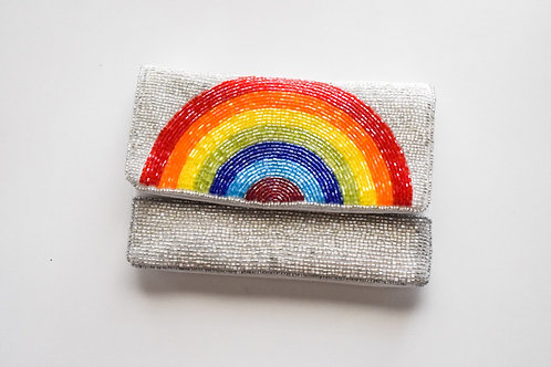 rainbow beaded purse