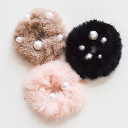 pearl fur scrunchies