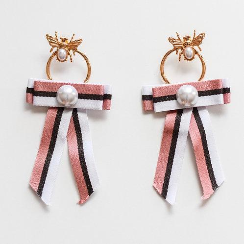 bee and pearl ribbon dangle earrings
