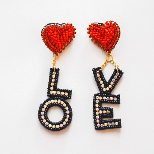 love beaded earrings