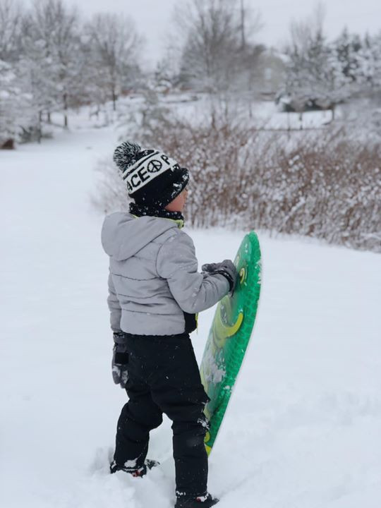 Ready to snowboard.