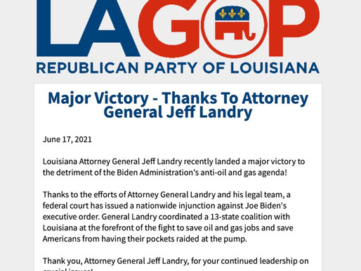 Major Victory - Thanks To Attorney General Jeff Landry
