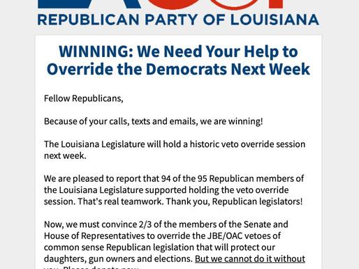 WINNING: We Need Your Help to Override the Democrats Next Week