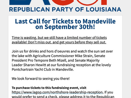 Last Call for Tickets to Mandeville on September 30th!