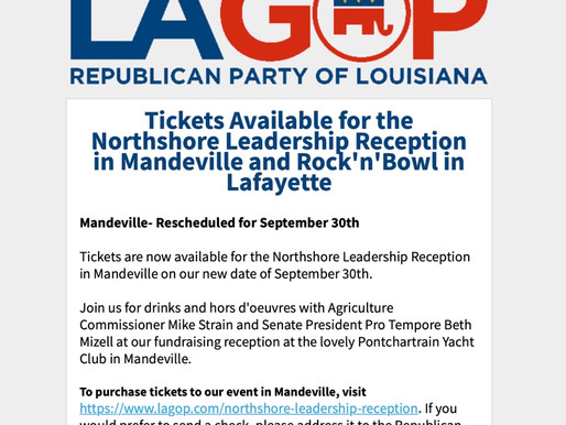 Tickets Available for the Northshore Leadership Reception in Mandeville and Rock'n'Bowl in Lafayette