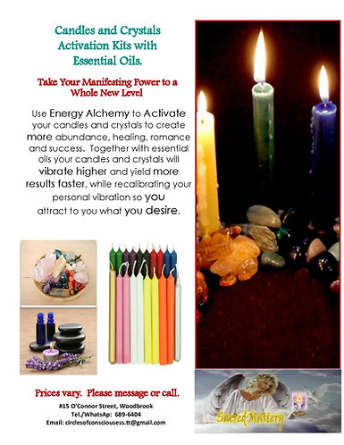 Candles and Crystals Activation Kits with Essential Oils