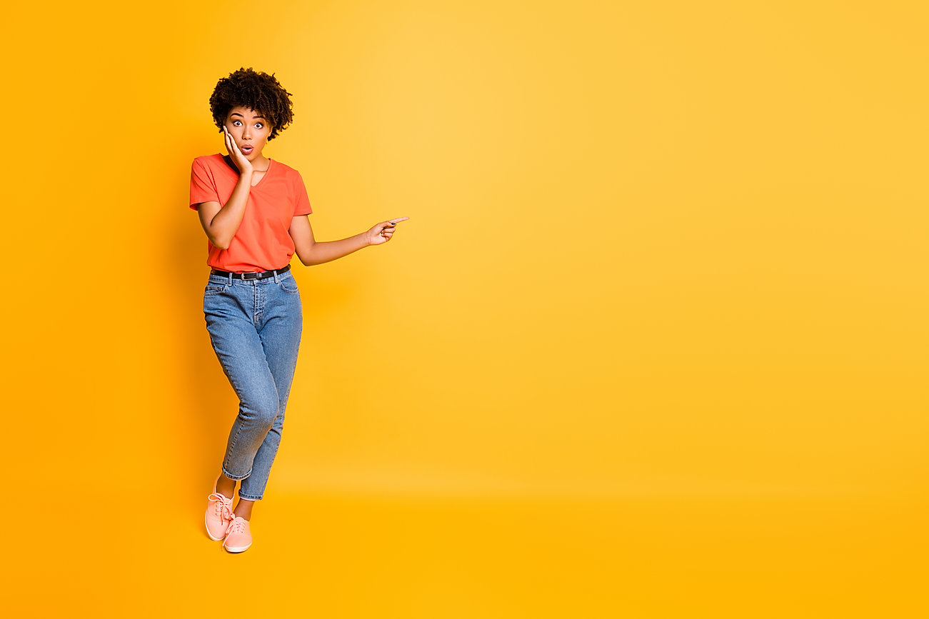 Full length body size copyspace photo of