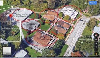 Areal view of Church campus and break down of church uses