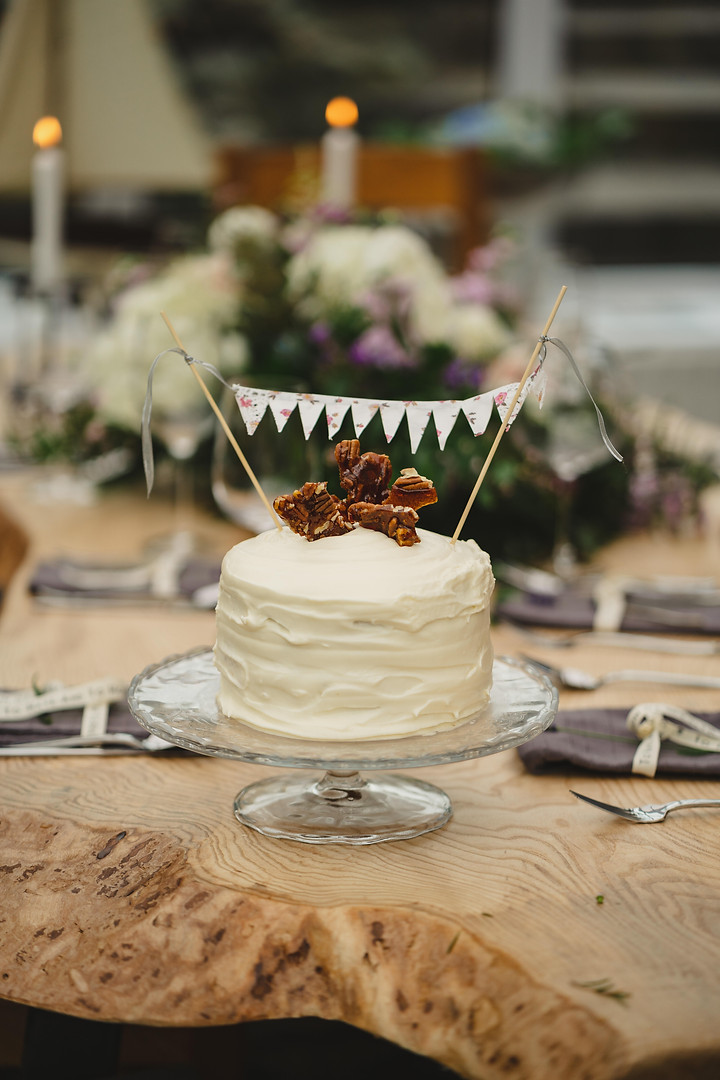 Simple Wedding Cake, Carrot and Pecan Brittle