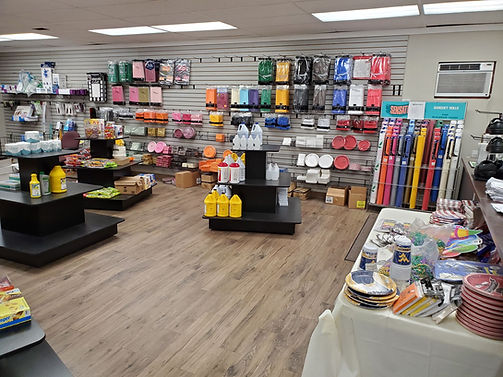 Stocked shelves at Tri-State Supplies store in East Liverpool, Ohio.