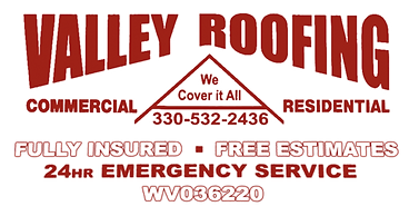 The extended official logo of Valley Roofing in Wellsville, Ohio. Commercial and residential roofing specialists.