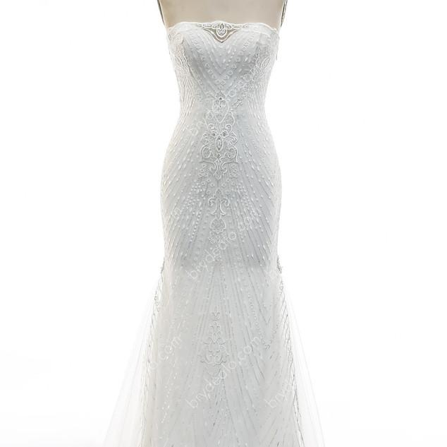 Patterned-Lace-Fishtail-Wedding-Dress-5.