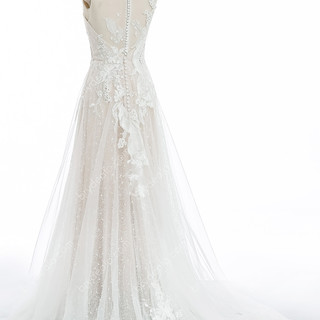 Colored-Cap-Sleeve-Sequin-Lace-A-line-We