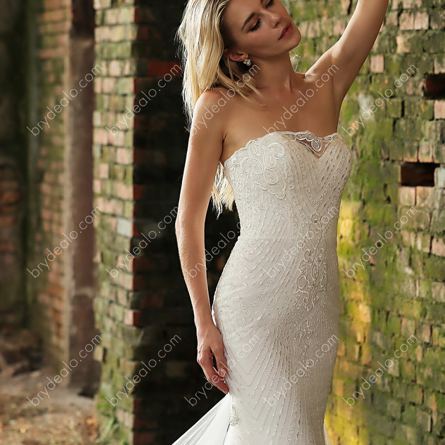 Strapless-Beaded-Lace-Fishtail-Wedding-D