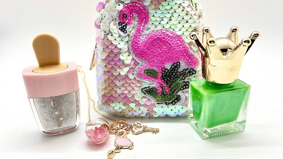 Light Pink / White Flamingo Sequin Coin Purse Combo