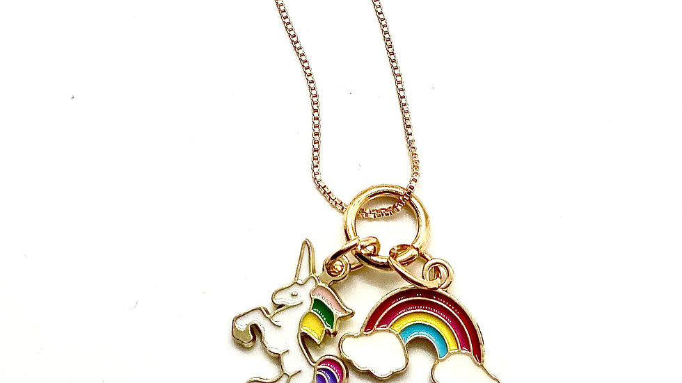 Unicorn Gold Plated Box Chain Necklace