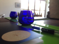 blue cup for tasting evoo